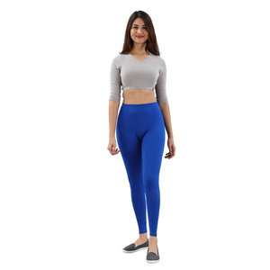 Twin Birds Women Solid Colour Viscose Ankle Length Legging with Signature Wide Waistband - Laser Blue