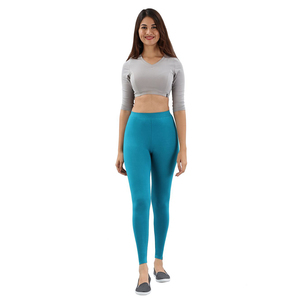 Twin Birds Women Solid Colour Viscose Ankle Length Legging with Signature Wide Waistband - Pagoda Blue