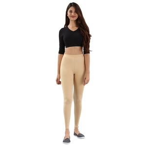 Twin Birds Women Solid Colour Viscose Ankle Length Legging with Signature Wide Waistband - Sugar Cake