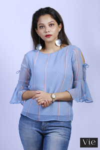 Vie Life Boat Neck Polka Dot Top With Cold Shoulder Sleeve - Light Blue