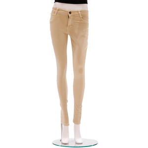 Zola Full Length Mid Waist Silky Soft Finished Jeans With 1 Button Fly Front Zip Opening - Fawn, Size-30