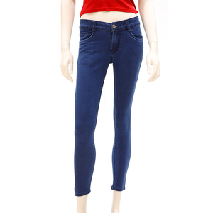 Zola Ankle Length Mid Waist Silky Finished Jeans With 1 Button Fly Front Zip Opening - Dx/Dark Indigo, Size-30
