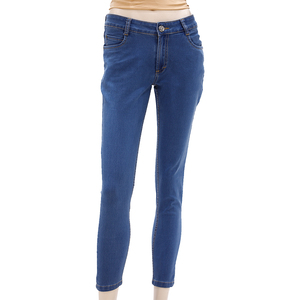 Zola Ankle Length Mid Waist Silky Finished Jeans With 1 Button Fly Front Zip Opening - Stone/Mid Blue, Size-36