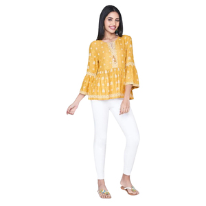 Global Desi Gathered Peplum top with Neck Tie-Up & Gathered Bell Sleeve - Mustard