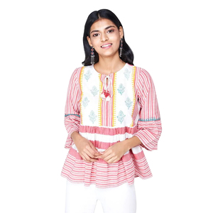 Global Desi Striped Gathered Peplum Top Styled with printed Yoke & Neck Tie-Up - Red