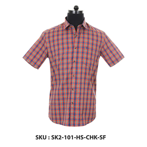 Classic Polo Mens Woven Shirt Sk2-101-Hs-Chk-Sf Red