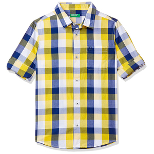 United Colors of Benetton Boys Regular Core Core Check Poplin Shirt- Yellow