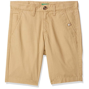 United Colors of Benetton Boy's Regular Fit Cotton Shorts- Beige