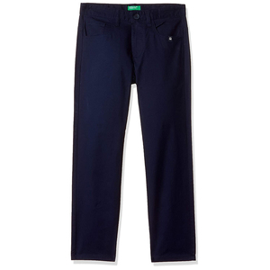 United Colors of Benetton Boy's Slim Fit Casual Pants- Navy Blue