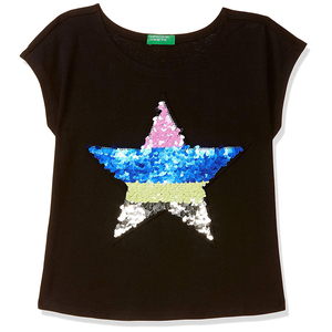 United Colors of Benetton Girl's Regular T-Shirt- Black