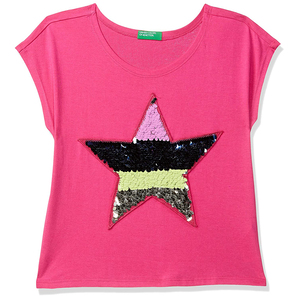 United Colors of Benetton Girl's Regular T-Shirt- Pink