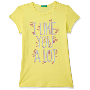 United Colors of Benetton Girl's Regular T-Shirt- Yellow