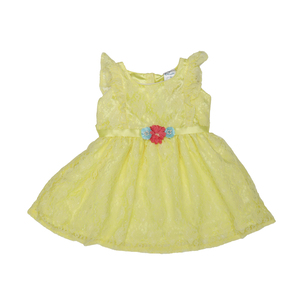 Doodle Girls Midi/Knee Length A-Line Party Dress- Yellow- 1-2Y