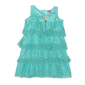 Doodle Girls Midi/Knee Length A-Line Party Dress- Green- 2-3Y