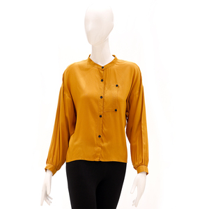 Desi Belle Comfort Fit Full Sleeved Shirt With Pocket And Contrast Button-Mustard