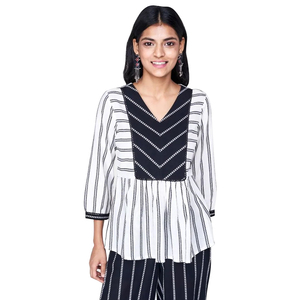 Global Desi Striped Gathered Peplum Top Styled with V Neck Yoke - Off White