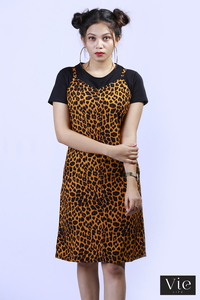 Vie Life Animal Printed Dress With Inner T - Shirt - Mango Yellow