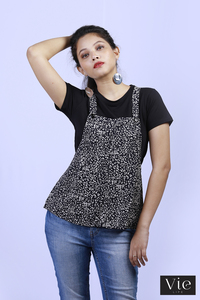 Vie Life Animal Printed Dungarees Style Top With Inner T - Shirt - Black